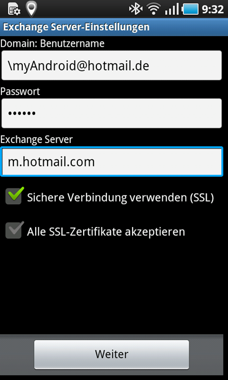 Hotmail Server Einstellungen